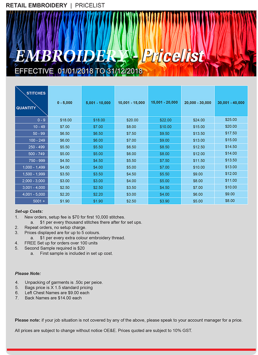 Embroidery Prices