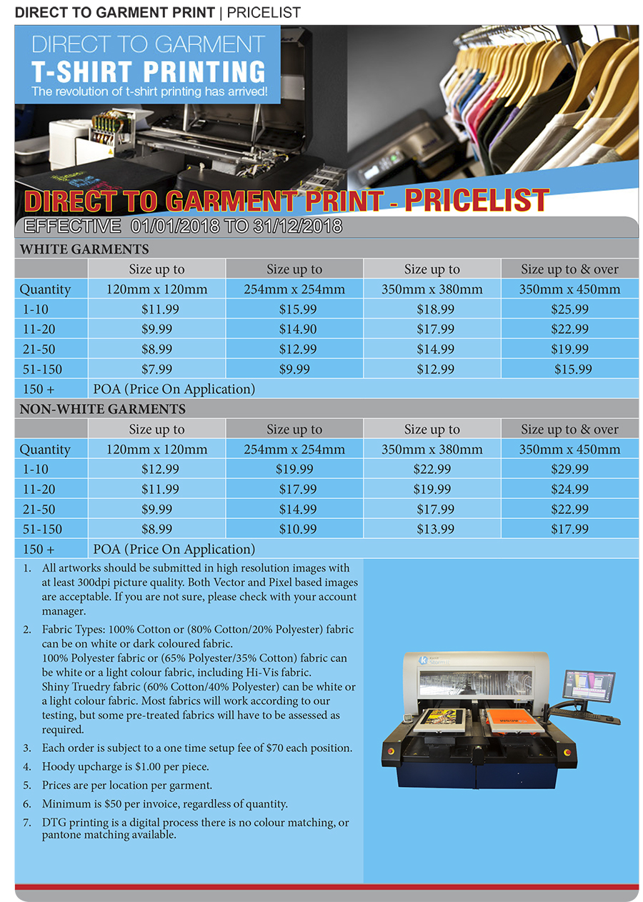 Uniforms 2018 DTG Printing Pricelist