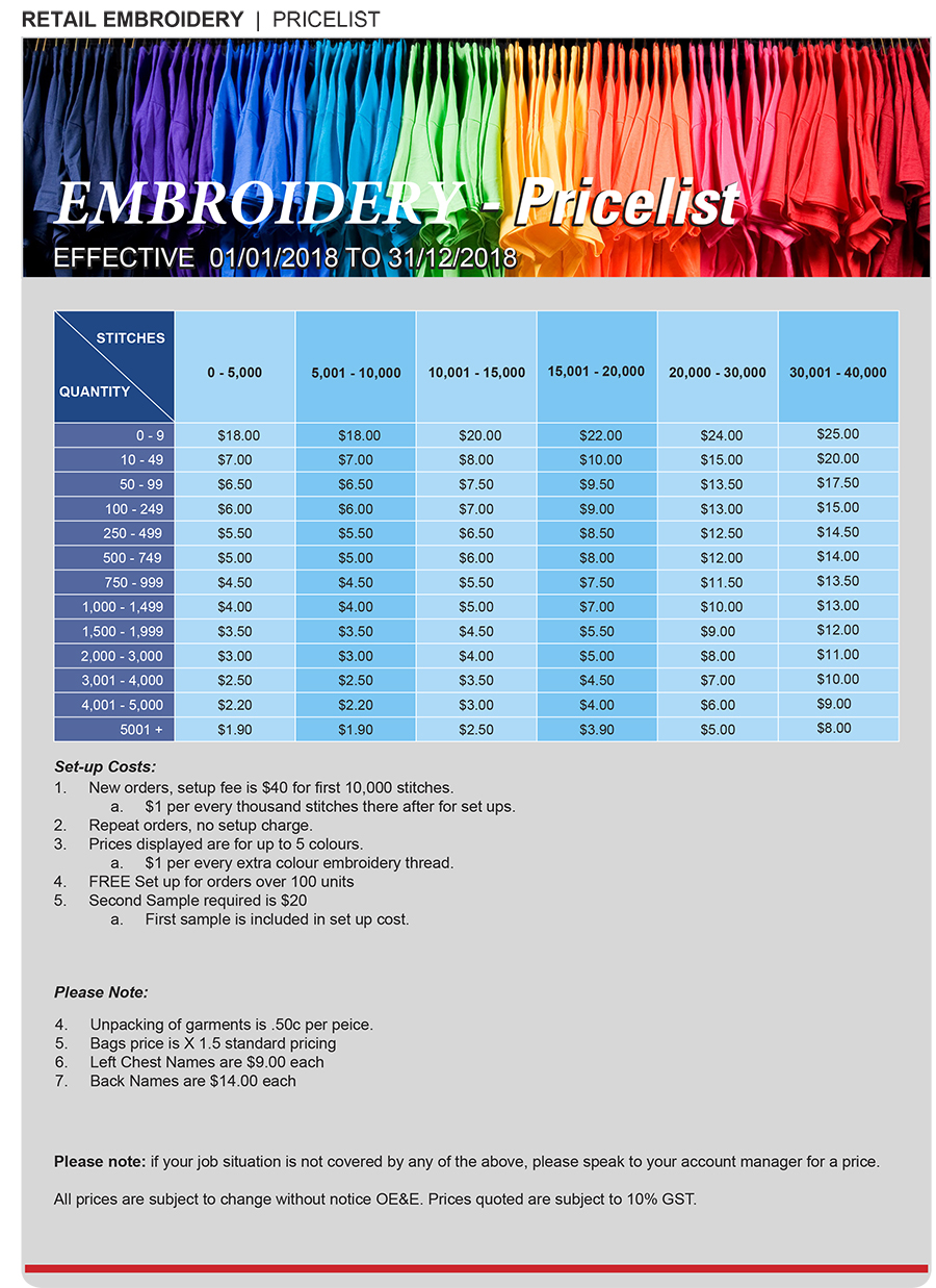 Uniforms 2018 Embroidery Pricelist