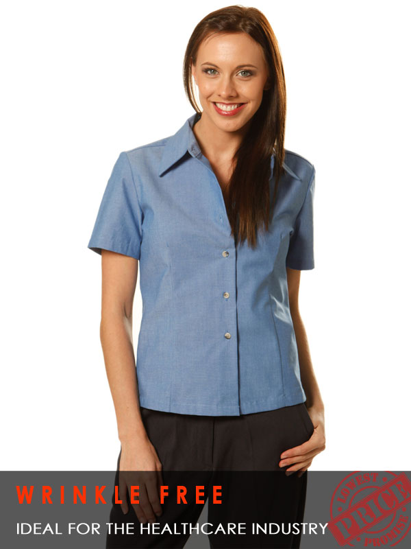 Ladies S/S Wrinkle Free Chambray Shirt
