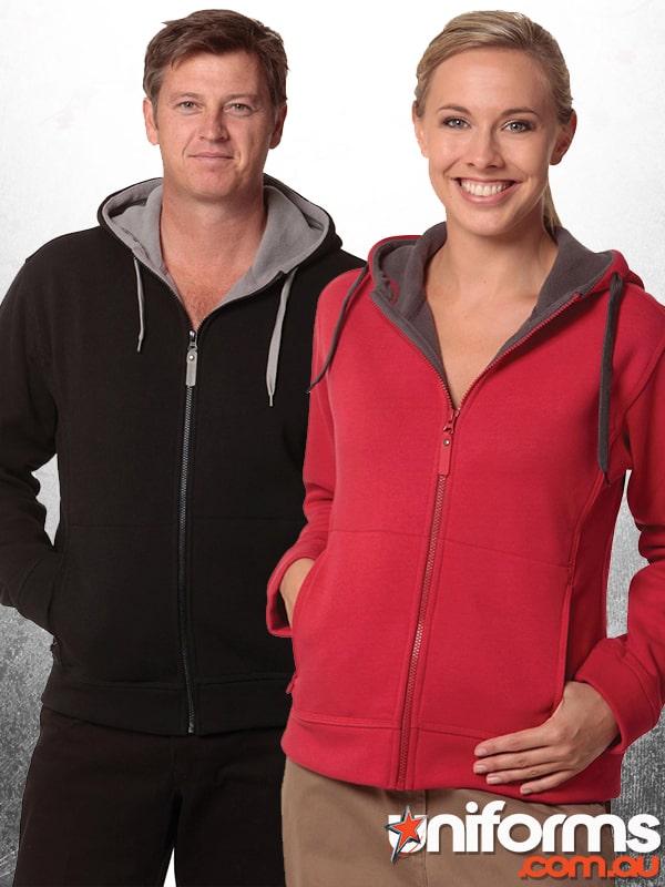 Full Zip Contrast Bonded Fleece Hoodie