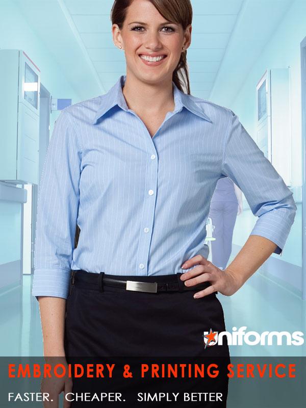 Ladies Pin Stripe 3qtr Shirt