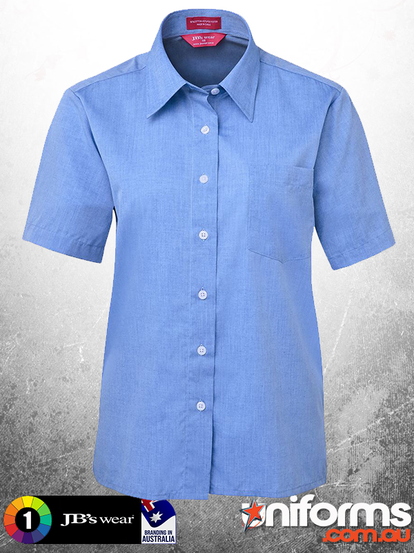 4LSLS JBS LADIES ORIGINAL Short Sleeve FINE CHAMBRAY SHIRT Blue  1609739437 999
