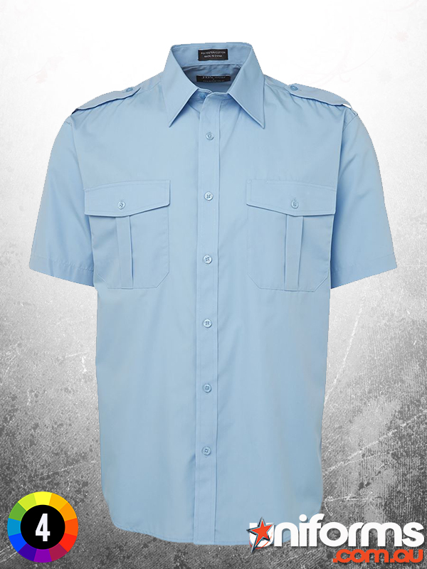 6E Short Sleeve Epaulette Shirt Blue  1573520826 996