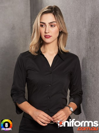 Ladies Teflon Business 3qtr Shirt