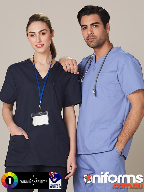 M7630 Unisex Scrubs Short Sleeve Tunic Top  1589340057 473