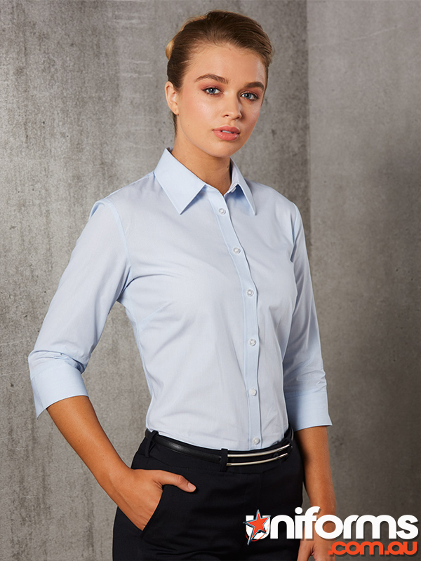 M8213 Womens Fine Stripe 3qtr Sleeve Shirt  1564101600 667