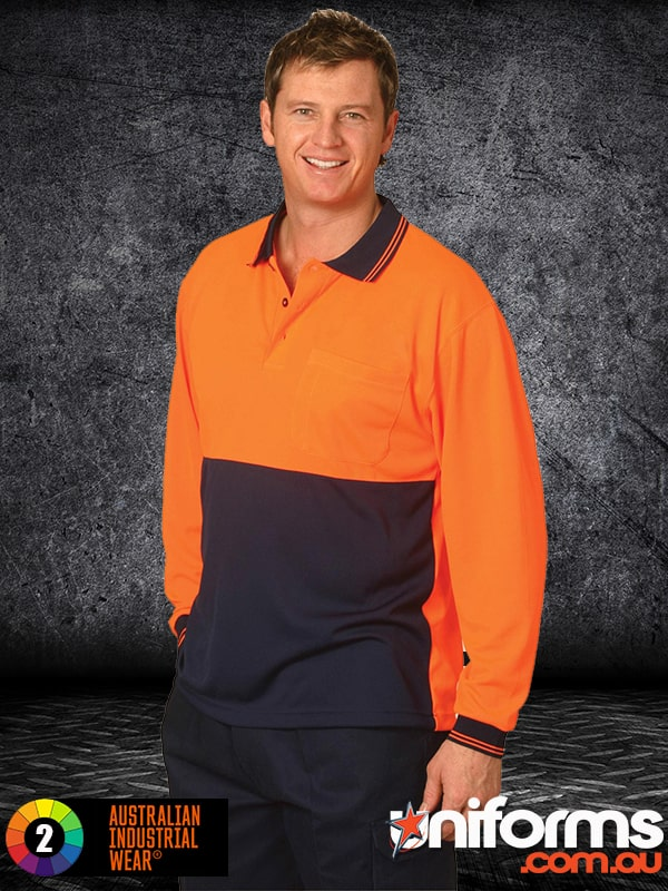 SW05CD High Visibility Long Sleeve Polo Workwear  1588994926 793
