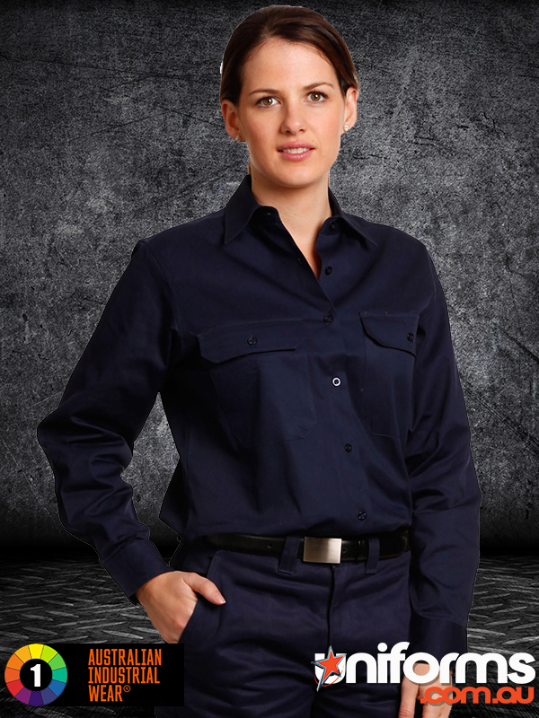 WT08 WOMEN S COTTON DRILL WORK Shirt  1589001056 764